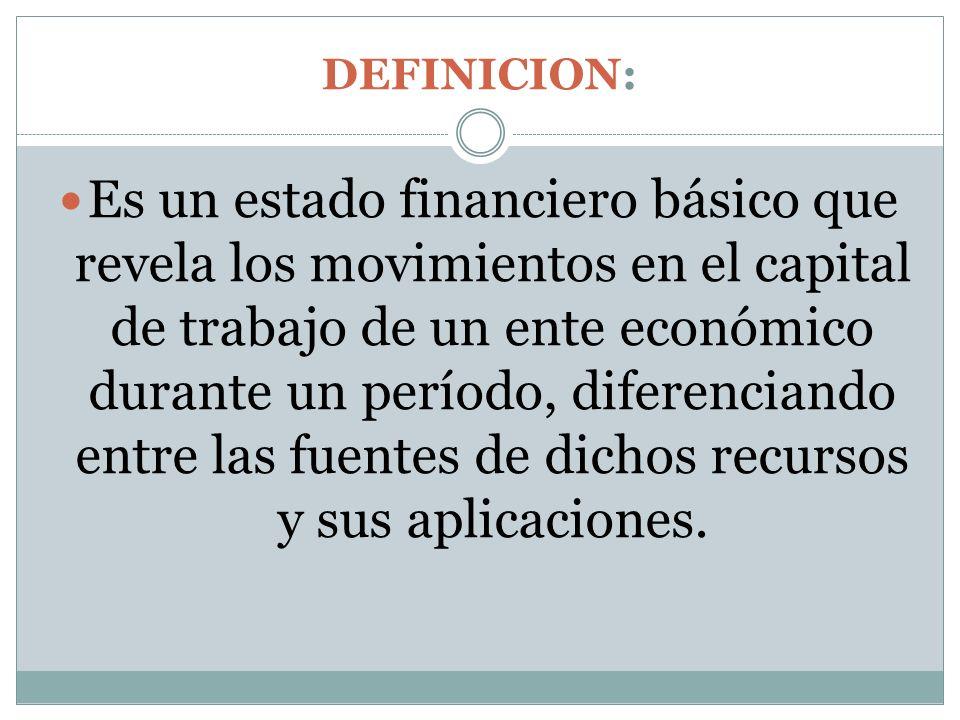 DEFINICION: Es un estado financiero básico que revela los movimientos en el capital de trabajo de un ente económico durante un período, diferenciando