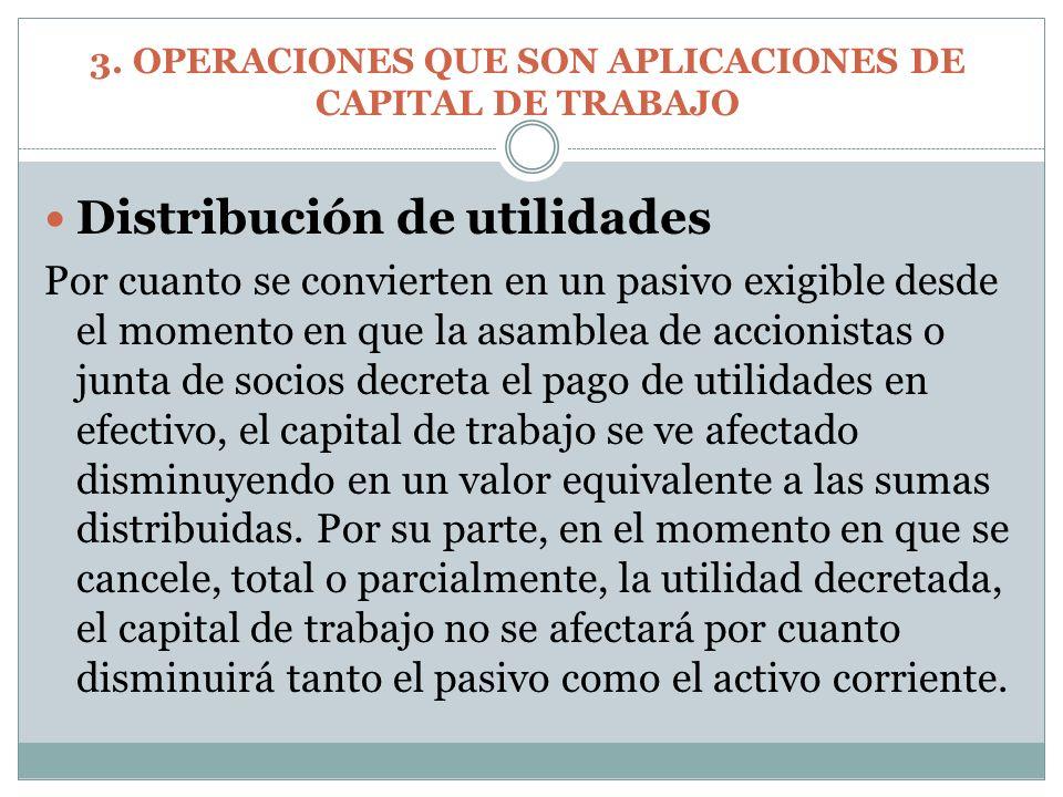 Distribución de utilidades Por cuanto se convierten en un pasivo exigible desde el momento en que la asamblea de accionistas o junta de socios decreta
