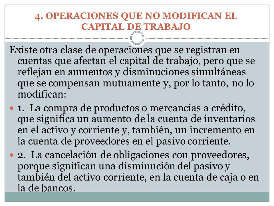 Existe otra clase de operaciones que se registran en cuentas que afectan el capital de trabajo, pero que se reflejan en aumentos y disminuciones simul