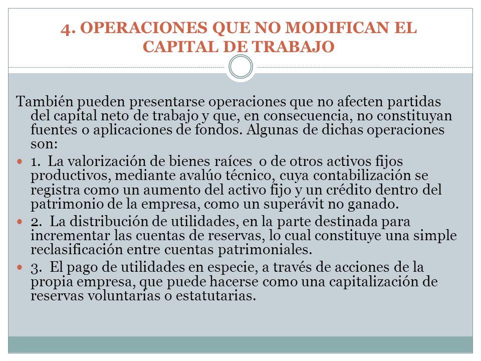 También pueden presentarse operaciones que no afecten partidas del capital neto de trabajo y que, en consecuencia, no constituyan fuentes o aplicacion