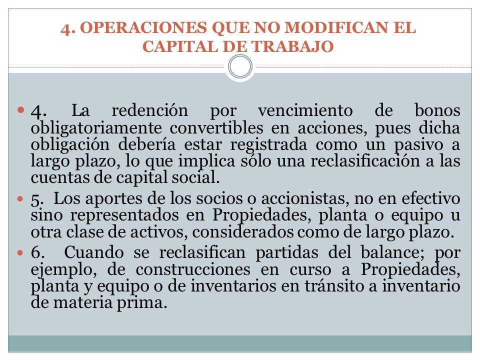 4. La redención por vencimiento de bonos obligatoriamente convertibles en acciones, pues dicha obligación debería estar registrada como un pasivo a la