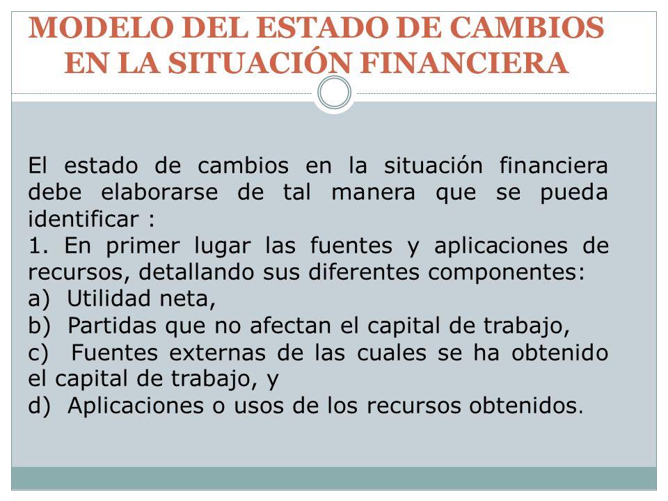 MODELO DEL ESTADO DE CAMBIOS EN LA SITUACIÓN FINANCIERA El estado de cambios en la situación financiera debe elaborarse de tal manera que se pueda ide