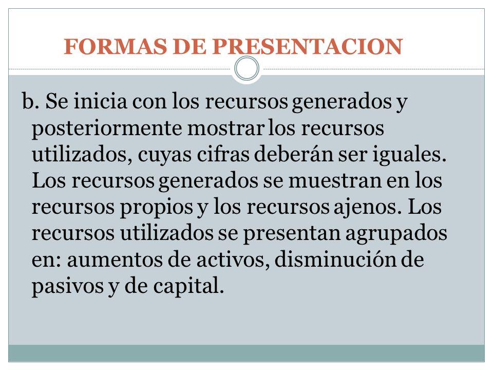 FORMAS DE PRESENTACION b. Se inicia con los recursos generados y posteriormente mostrar los recursos utilizados, cuyas cifras deberán ser iguales. Los