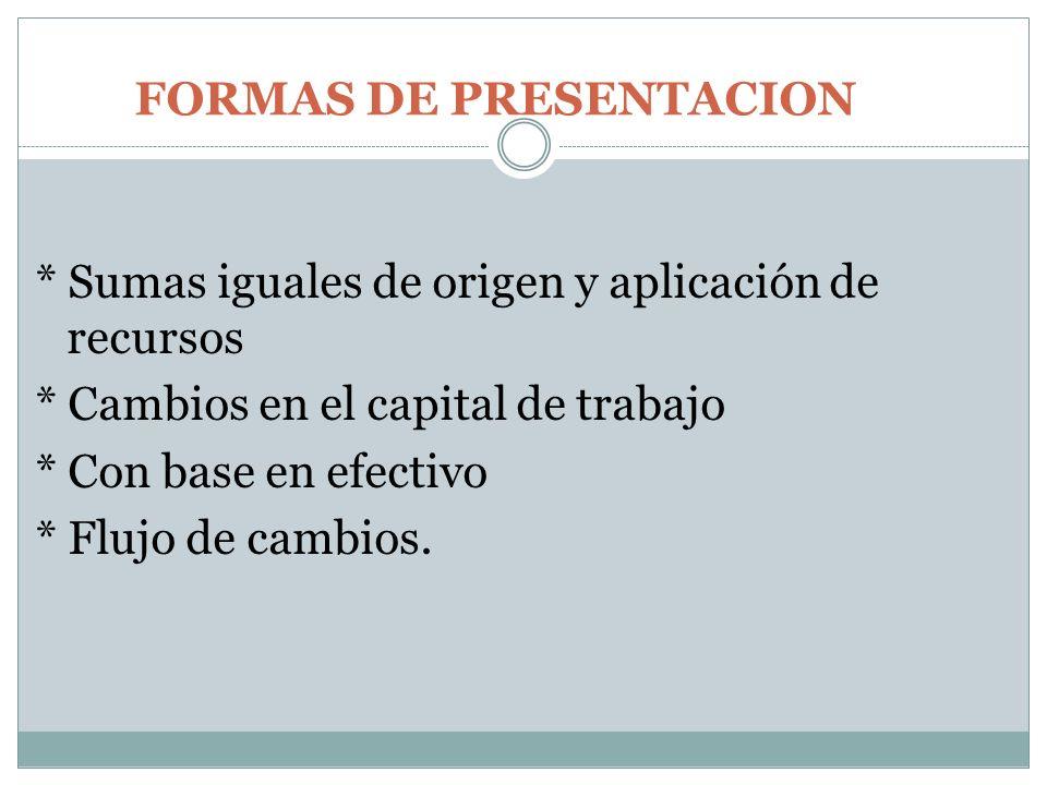 FORMAS DE PRESENTACION * Sumas iguales de origen y aplicación de recursos * Cambios en el capital de trabajo * Con base en efectivo * Flujo de cambios