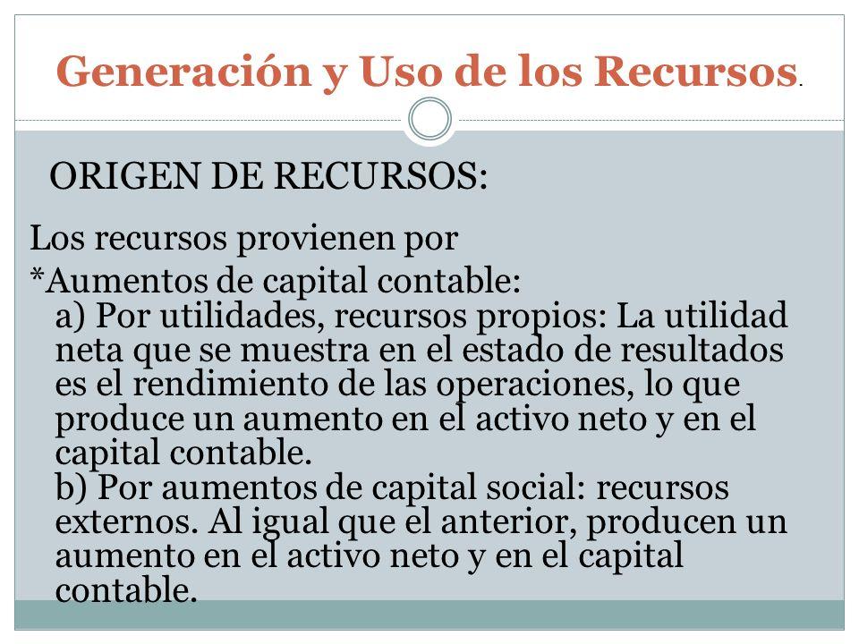 Los recursos provienen por *Aumentos de capital contable: a) Por utilidades, recursos propios: La utilidad neta que se muestra en el estado de resulta