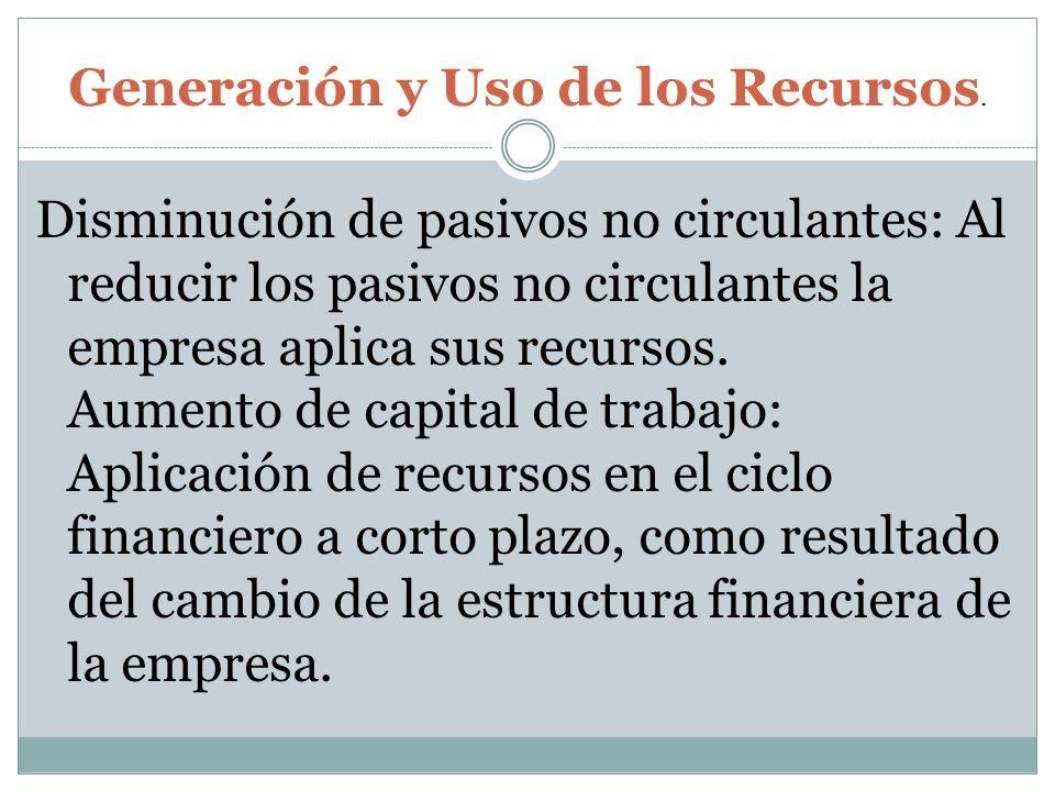 Disminución de pasivos no circulantes: Al reducir los pasivos no circulantes la empresa aplica sus recursos. Aumento de capital de trabajo: Aplicación