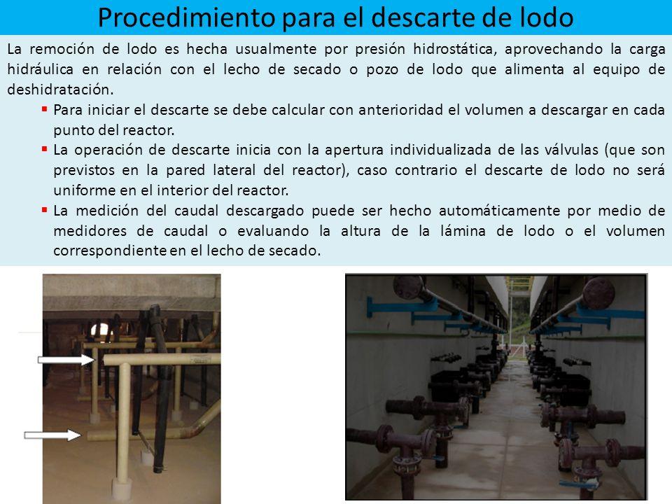 Procedimiento para el descarte de lodo La remoción de lodo es hecha usualmente por presión hidrostática, aprovechando la carga hidráulica en relación con el lecho de secado o pozo de lodo que alimenta al equipo de deshidratación.