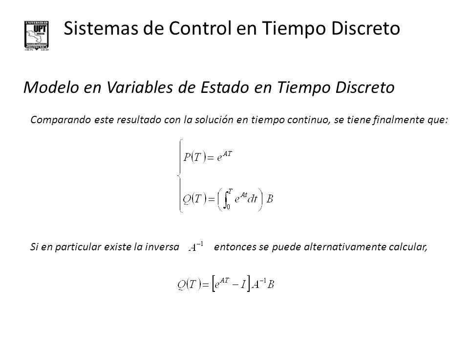 Sistemas de Control en Tiempo Discreto Modelo en Variables de Estado en Tiempo Discreto En forma compacta, EJEMPLO: Hallar la representación en tiempo discreto para T=1, del sistema continuo,