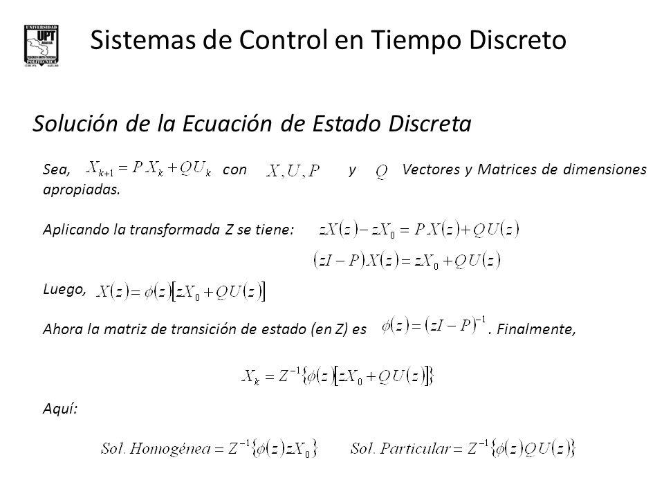 Sistemas de Control en Tiempo Discreto Solución de la Ecuación de Estado Discreta EJEMPLO: Hallar la solución (en el tiempo) para la ecuación de estado, cuyas condiciones iniciales son y la entrada es un escalón unitario.
