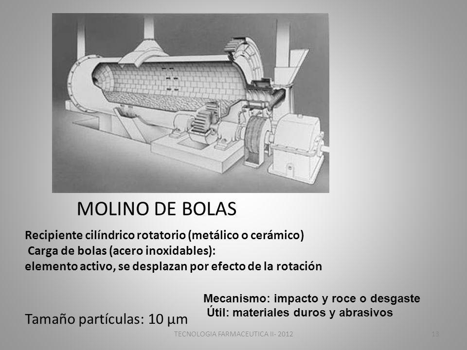 MOLINO DE BOLAS Recipiente cilíndrico rotatorio (metálico o cerámico) Carga de bolas (acero inoxidables): elemento activo, se desplazan por efecto de la rotación Mecanismo: impacto y roce o desgaste Útil: materiales duros y abrasivos Tamaño partículas: 10 μm TECNOLOGIA FARMACEUTICA II- 201213