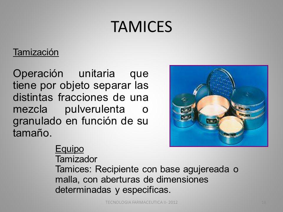 TAMICES Tamización Operación unitaria que tiene por objeto separar las distintas fracciones de una mezcla pulverulenta o granulado en función de su ta