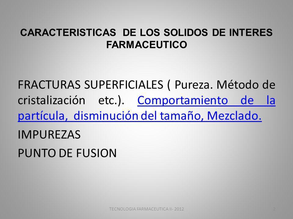 CARACTERISTICAS DE LOS SOLIDOS DE INTERES FARMACEUTICO FRACTURAS SUPERFICIALES ( Pureza. Método de cristalización etc.). Comportamiento de la partícul