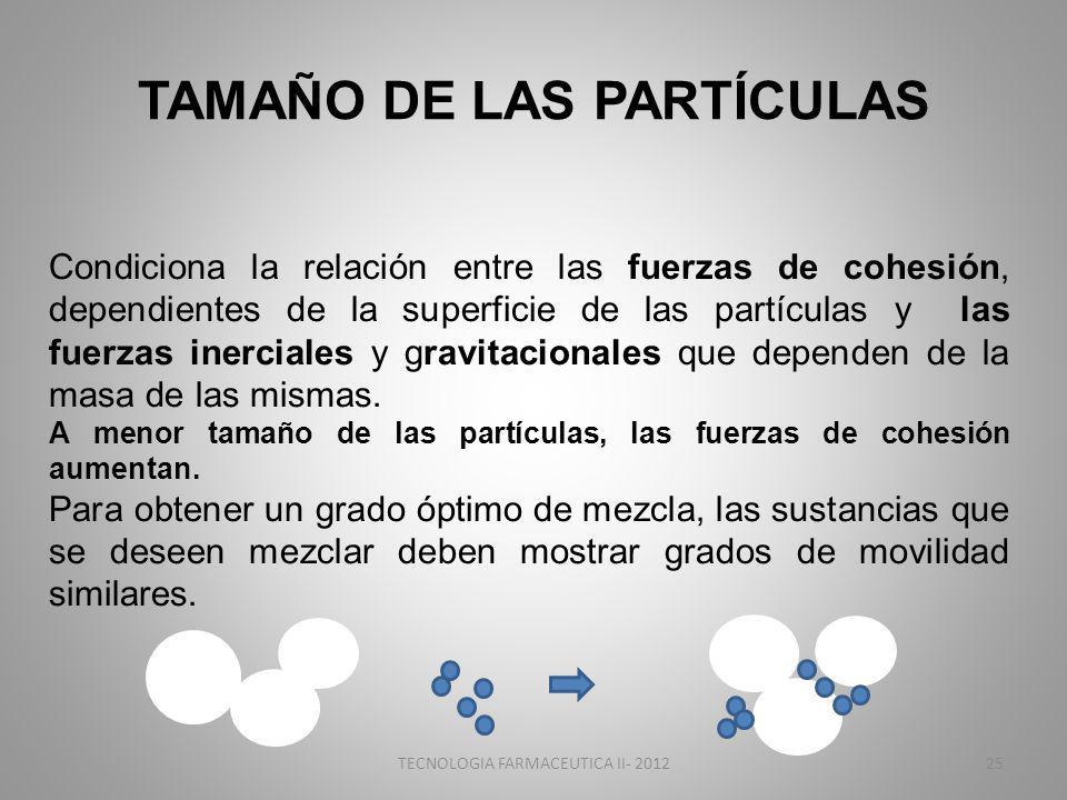 TAMAÑO DE LAS PARTÍCULAS Condiciona la relación entre las fuerzas de cohesión, dependientes de la superficie de las partículas y las fuerzas inerciales y gravitacionales que dependen de la masa de las mismas.