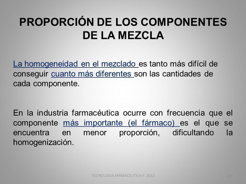 PROPORCIÓN DE LOS COMPONENTES DE LA MEZCLA La homogeneidad en el mezclado es tanto más difícil de conseguir cuanto más diferentes son las cantidades de cada componente.