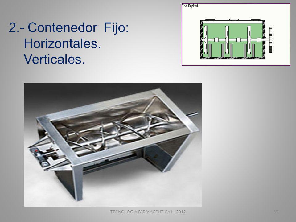 2.- Contenedor Fijo: Horizontales. Verticales. TECNOLOGIA FARMACEUTICA II- 201235