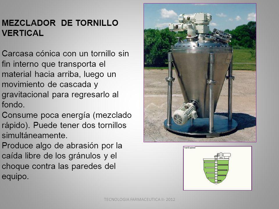 TECNOLOGIA FARMACEUTICA II- 2012 MEZCLADOR DE TORNILLO VERTICAL Carcasa cónica con un tornillo sin fin interno que transporta el material hacia arriba