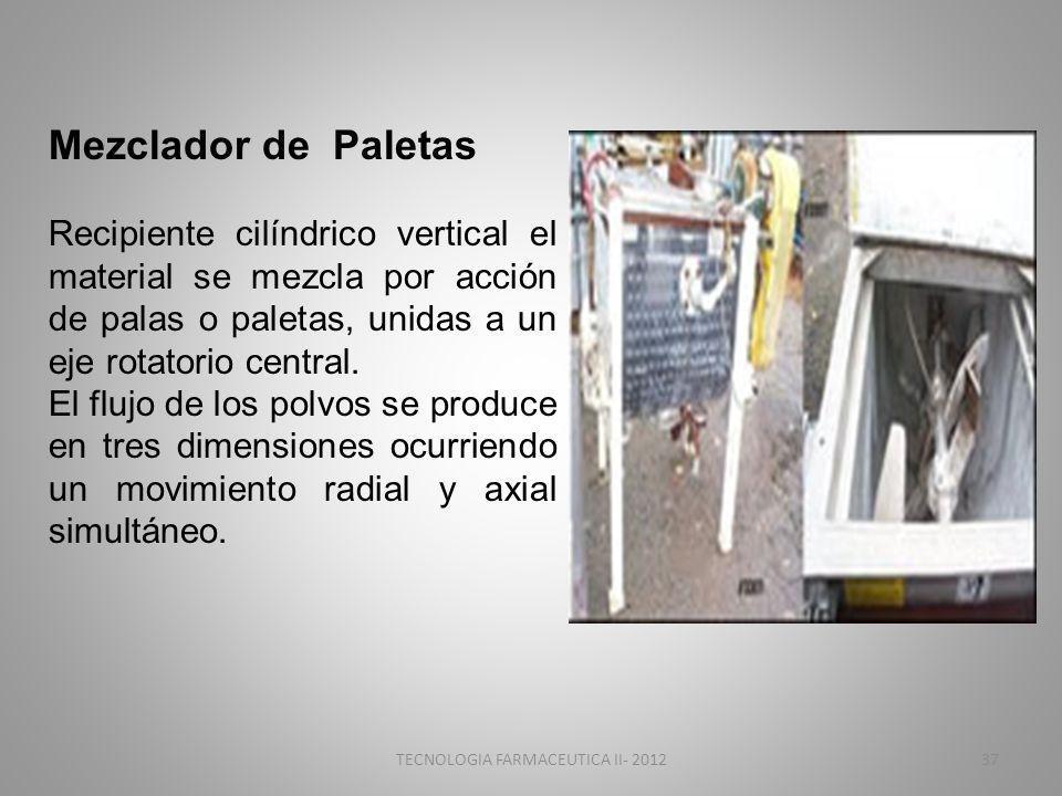 TECNOLOGIA FARMACEUTICA II- 201237 Mezclador de Paletas Recipiente cilíndrico vertical el material se mezcla por acción de palas o paletas, unidas a un eje rotatorio central.