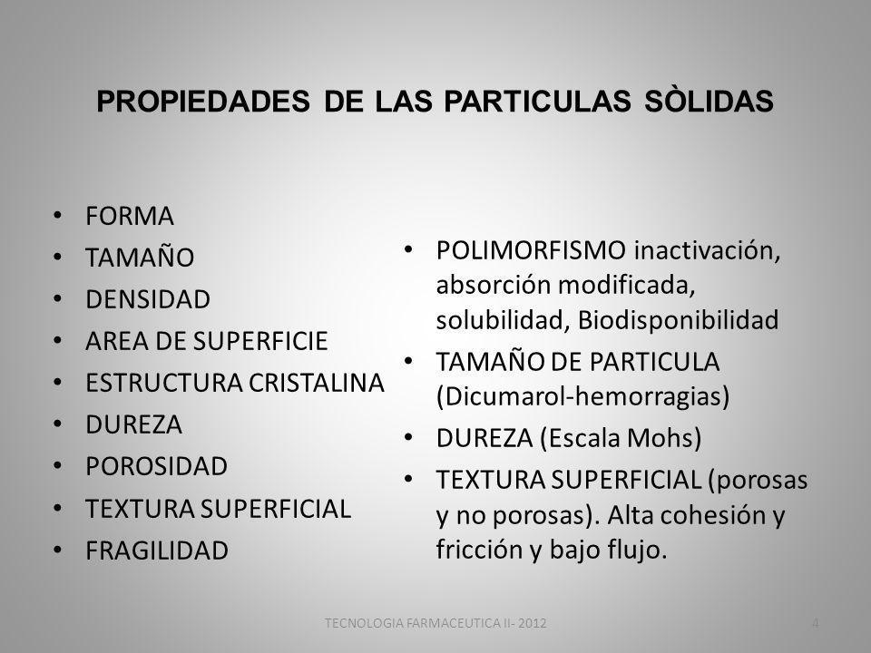 PROPIEDADES DE LAS PARTICULAS SÒLIDAS FORMA TAMAÑO DENSIDAD AREA DE SUPERFICIE ESTRUCTURA CRISTALINA DUREZA POROSIDAD TEXTURA SUPERFICIAL FRAGILIDAD POLIMORFISMO inactivación, absorción modificada, solubilidad, Biodisponibilidad TAMAÑO DE PARTICULA (Dicumarol-hemorragias) DUREZA (Escala Mohs) TEXTURA SUPERFICIAL (porosas y no porosas).