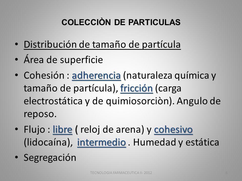 COLECCIÒN DE PARTICULAS Distribución de tamaño de partícula Área de superficie adherencia fricción Cohesión : adherencia (naturaleza química y tamaño de partícula), fricción (carga electrostática y de quimiosorciòn).