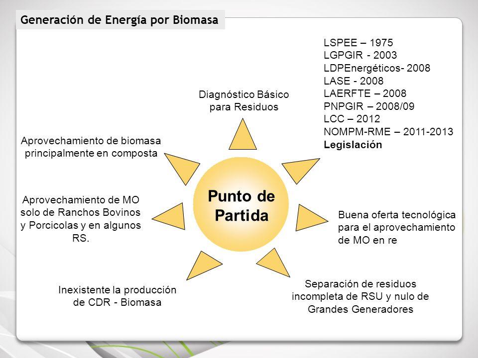 Punto de Partida Inexistente la producción de CDR - Biomasa Aprovechamiento de biomasa principalmente en composta Diagnóstico Básico para Residuos LSP