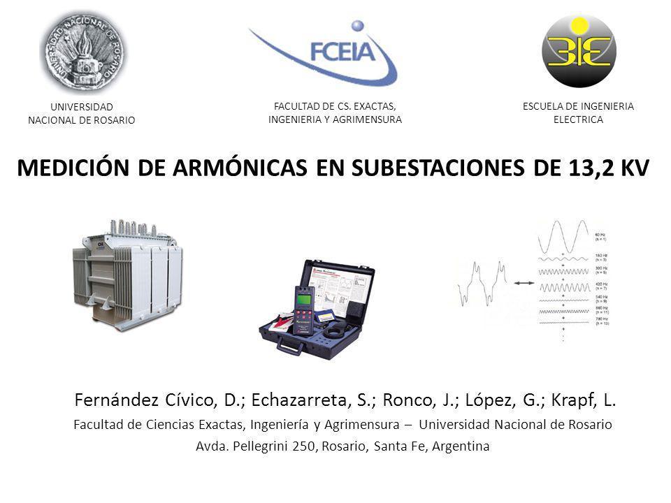MEDICIÓN DE ARMÓNICAS EN SUBESTACIONES DE 13,2 KV Fernández Cívico, D.; Echazarreta, S.; Ronco, J.; López, G.; Krapf, L. Facultad de Ciencias Exactas,