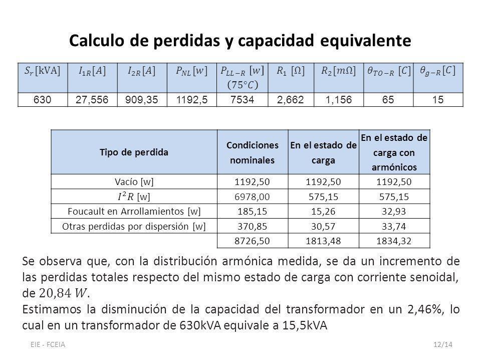 63027,556909,351192,575342,6621,1566515 Calculo de perdidas y capacidad equivalente Tipo de perdida Condiciones nominales En el estado de carga En el