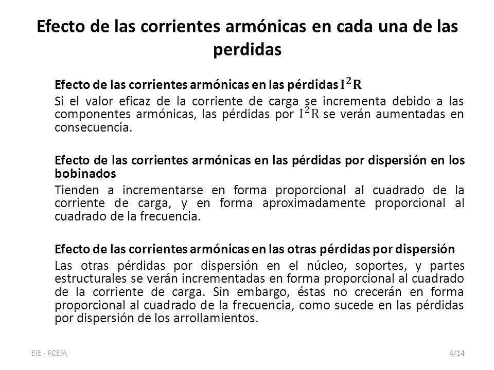 Efecto de las corrientes armónicas en cada una de las perdidas EIE - FCEIA4/14