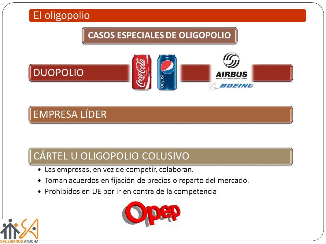 El oligopolio DUOPOLIOEMPRESA LÍDERCÁRTEL U OLIGOPOLIO COLUSIVO Las empresas, en vez de competir, colaboran. Toman acuerdos en fijación de precios o r