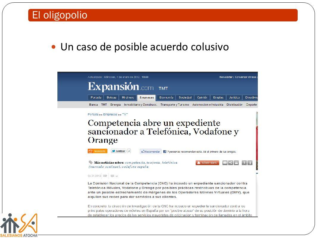 El oligopolio Un caso de posible acuerdo colusivo