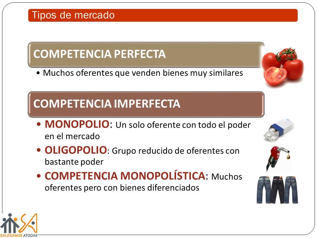 COMPETENCIA PERFECTA Muchos oferentes que venden bienes muy similares COMPETENCIA IMPERFECTA MONOPOLIO: Un solo oferente con todo el poder en el merca
