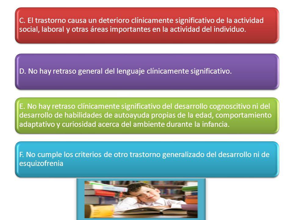 C. El trastorno causa un deterioro clínicamente significativo de la actividad social, laboral y otras áreas importantes en la actividad del individuo.
