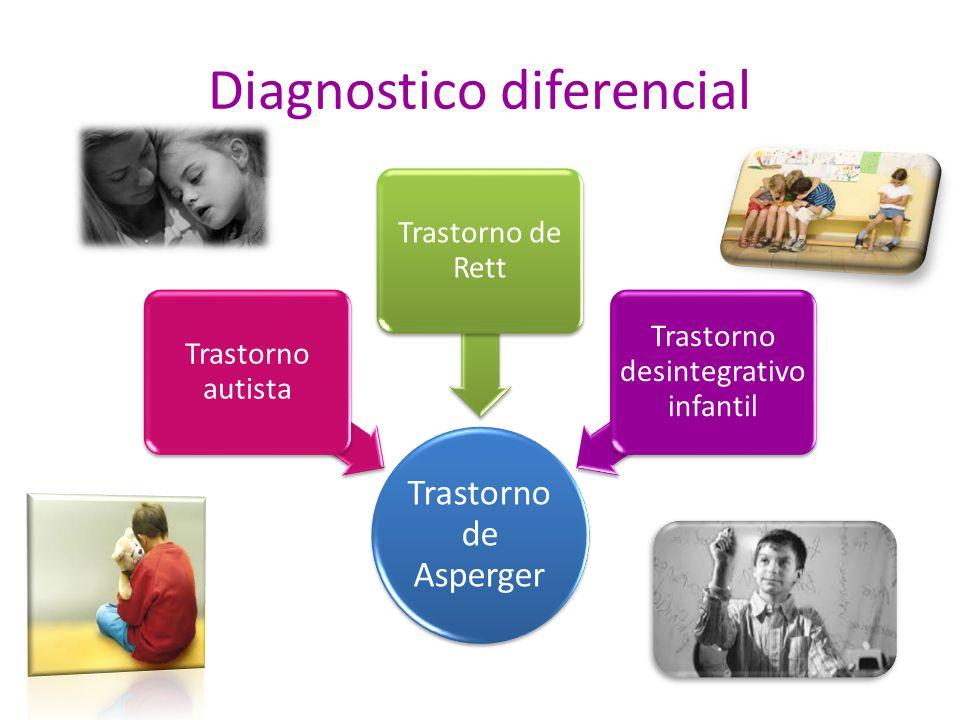 Diagnostico diferencial Trastorno de Asperger Trastorno autista Trastorno de Rett Trastorno desintegrativo infantil