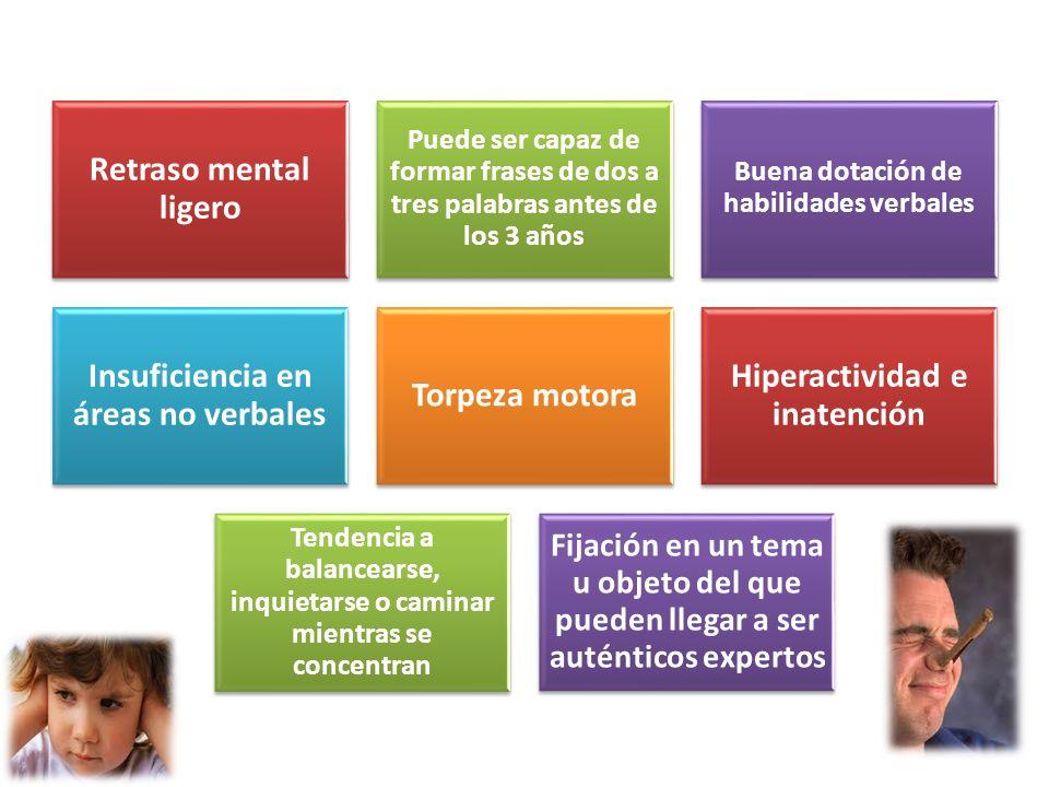 Retraso mental ligero Puede ser capaz de formar frases de dos a tres palabras antes de los 3 años Buena dotación de habilidades verbales Insuficiencia