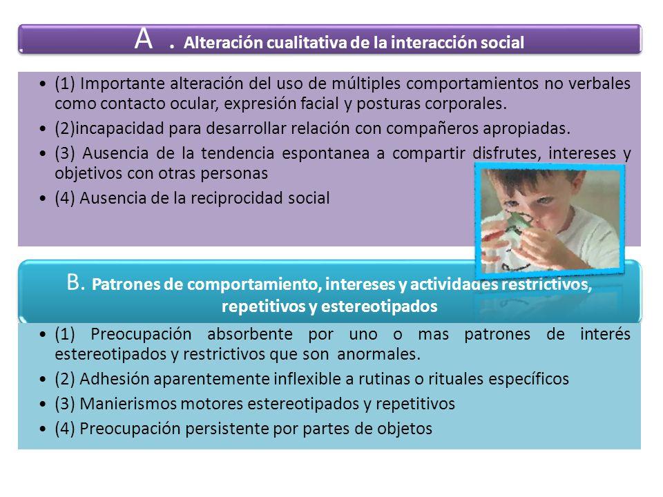 A. Alteración cualitativa de la interacción social (1) Importante alteración del uso de múltiples comportamientos no verbales como contacto ocular, ex
