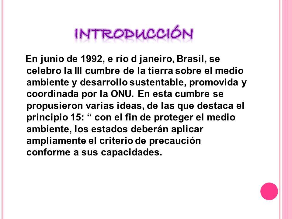 En junio de 1992, e río d janeiro, Brasil, se celebro la III cumbre de la tierra sobre el medio ambiente y desarrollo sustentable, promovida y coordinada por la ONU.