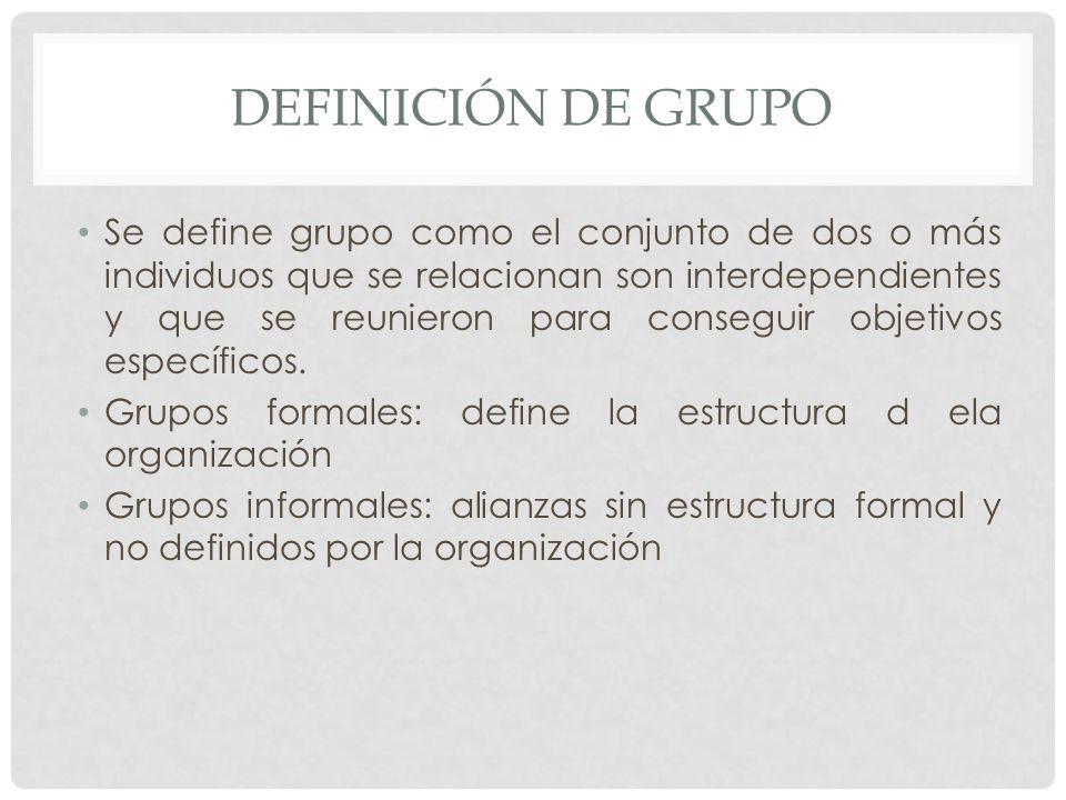 Grupo de mando: determinado por el organigrama Grupo de tareas: determina la org.