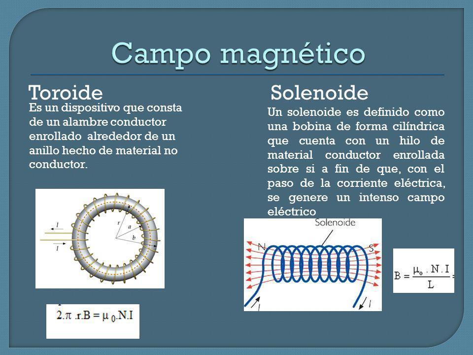 Toroide Solenoide Un solenoide es definido como una bobina de forma cilíndrica que cuenta con un hilo de material conductor enrollada sobre si a fin d