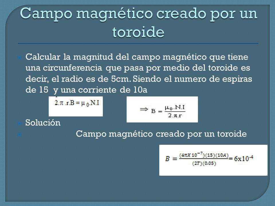 Calcular la magnitud del campo magnético que tiene una circunferencia que pasa por medio del toroide es decir, el radio es de 5cm. Siendo el numero de