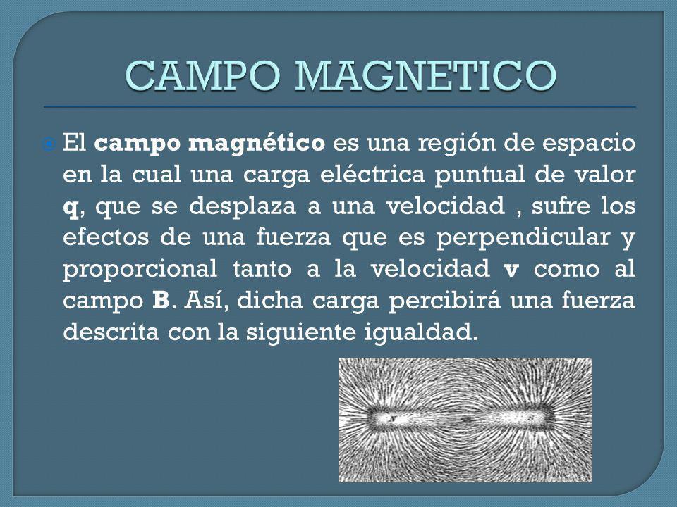 El campo magnético es una región de espacio en la cual una carga eléctrica puntual de valor q, que se desplaza a una velocidad, sufre los efectos de u
