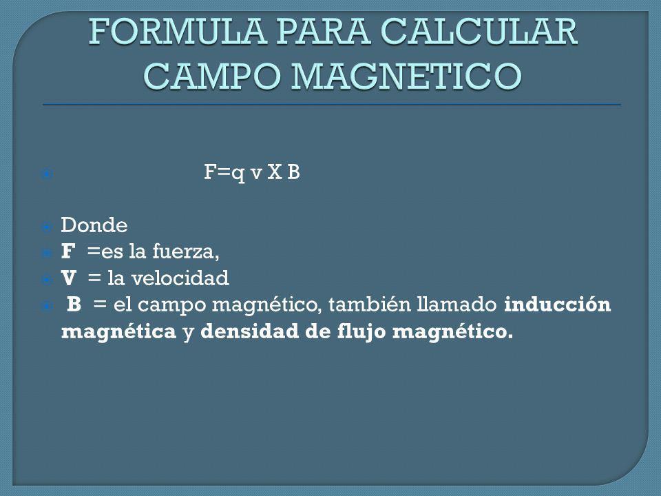 F=q v X B Donde F =es la fuerza, V = la velocidad B = el campo magnético, también llamado inducción magnética y densidad de flujo magnético.