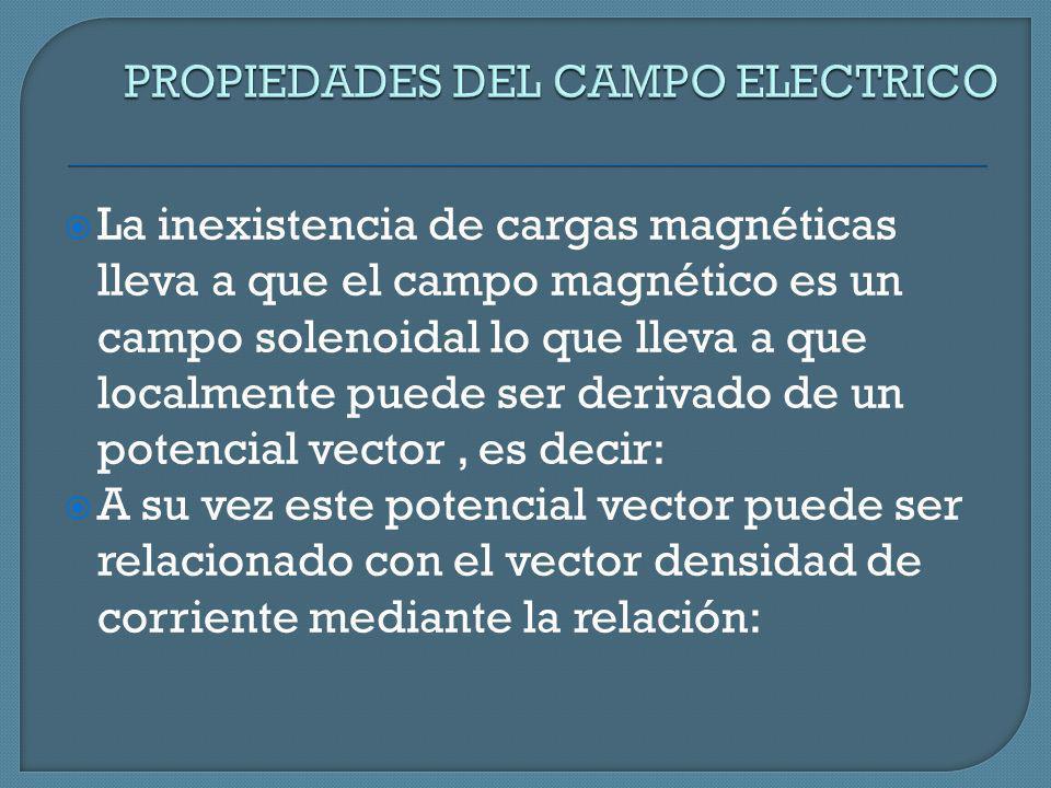La inexistencia de cargas magnéticas lleva a que el campo magnético es un campo solenoidal lo que lleva a que localmente puede ser derivado de un pote