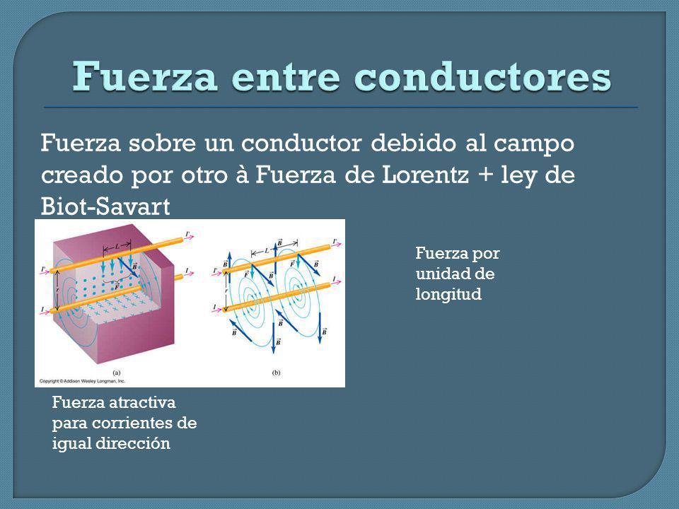 Fuerza sobre un conductor debido al campo creado por otro à Fuerza de Lorentz + ley de Biot-Savart Fuerza por unidad de longitud Fuerza atractiva para
