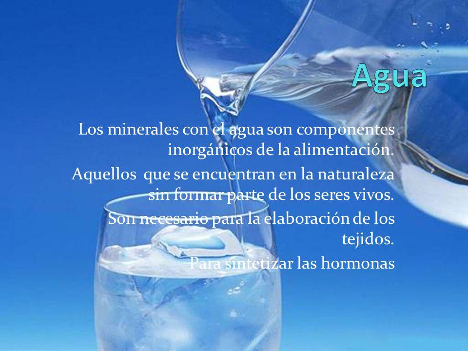 Los minerales con el agua son componentes inorgánicos de la alimentación. Aquellos que se encuentran en la naturaleza sin formar parte de los seres vi