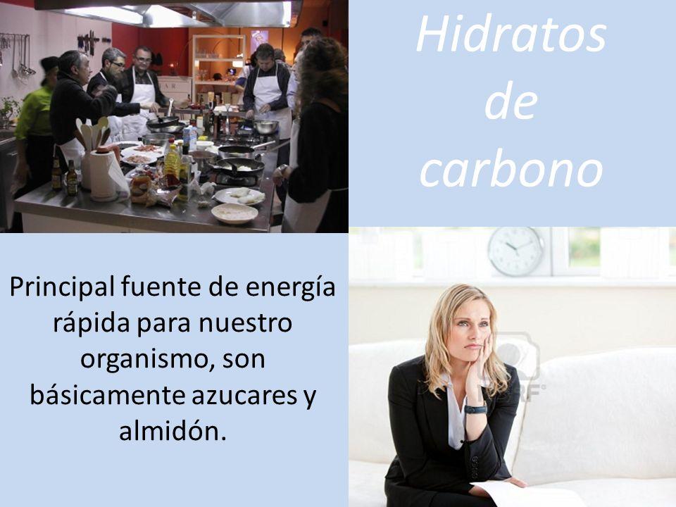 Hidratos de carbono Principal fuente de energía rápida para nuestro organismo, son básicamente azucares y almidón.