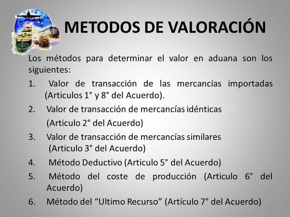 METODOS DE VALORACIÓN Los métodos para determinar el valor en aduana son los siguientes: 1. Valor de transacción de las mercancías importadas (Articul