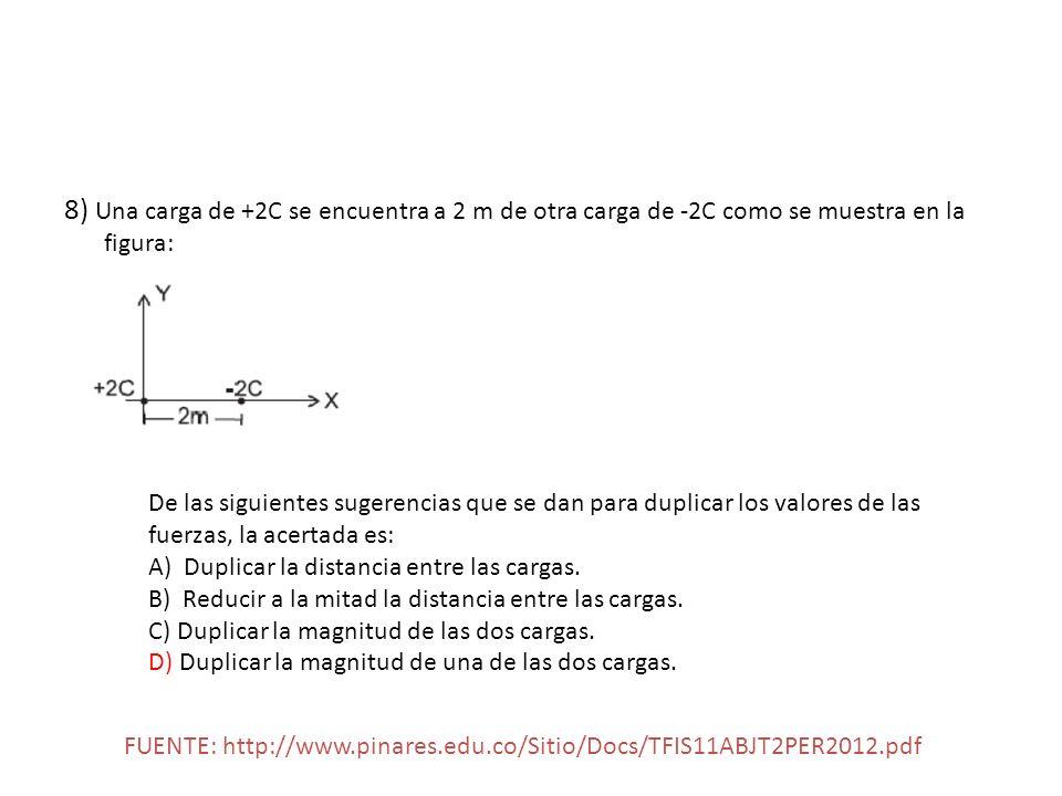 8) Una carga de +2C se encuentra a 2 m de otra carga de -2C como se muestra en la figura: De las siguientes sugerencias que se dan para duplicar los v