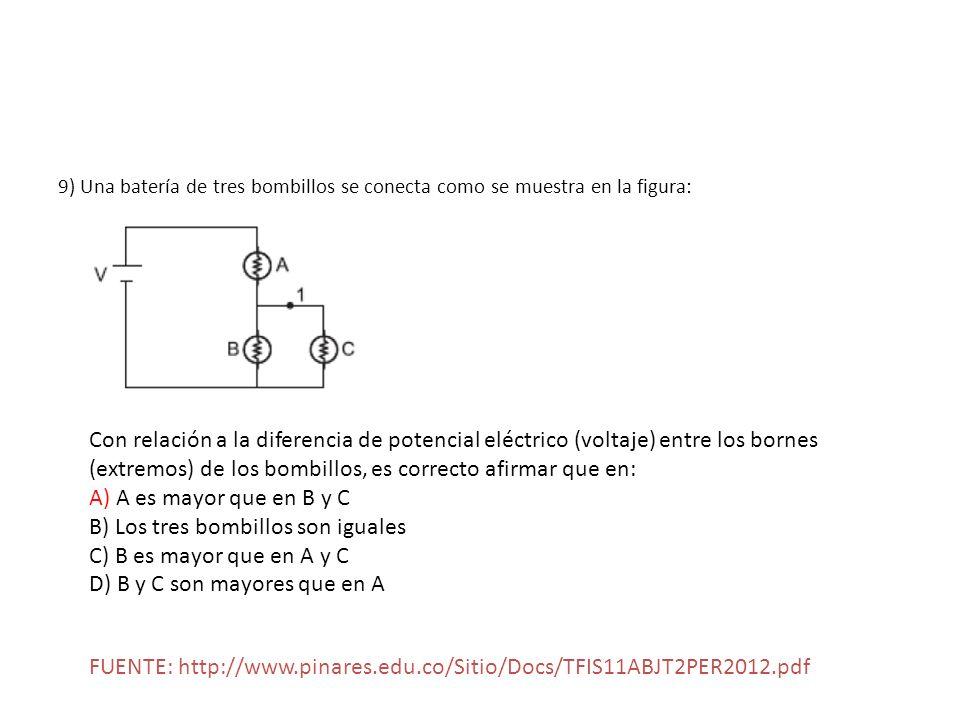 9) Una batería de tres bombillos se conecta como se muestra en la figura: Con relación a la diferencia de potencial eléctrico (voltaje) entre los born