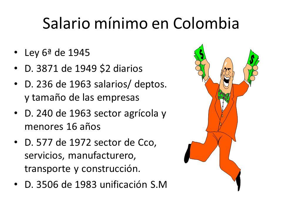 Salario mínimo El que todo trabajador tiene derecho a percibir para subvenir a sus necesidades normales y a las de su familia, en el orden material, moral y cultural.