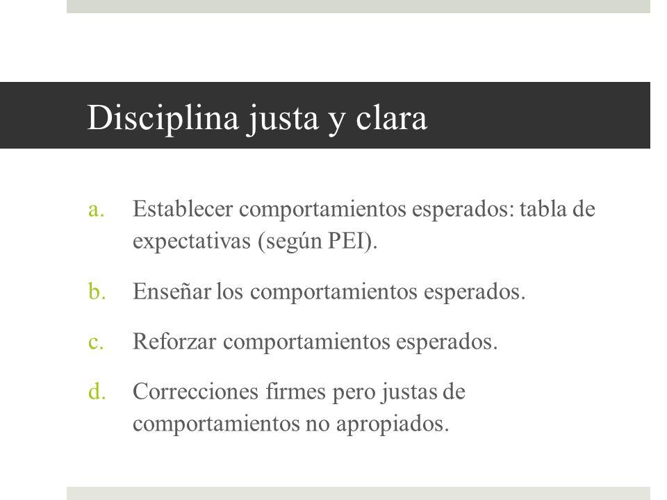 Disciplina justa y clara a.Establecer comportamientos esperados: tabla de expectativas (según PEI). b.Enseñar los comportamientos esperados. c.Reforza
