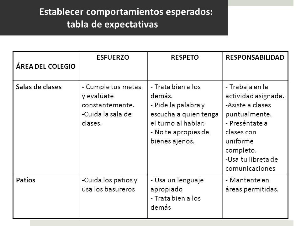 Establecer comportamientos esperados: tabla de expectativas ÁREA DEL COLEGIO ESFUERZORESPETORESPONSABILIDAD Salas de clases- Cumple tus metas y evalúa